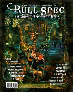 """Bull Spec #7 Cover: """"Gearaffes"""" by Angi Shearstone based on D.K. Thompson's short story """"The Gearaffe Who Didn't Tick"""", additional cover design by Jeremy Zerfoss"""