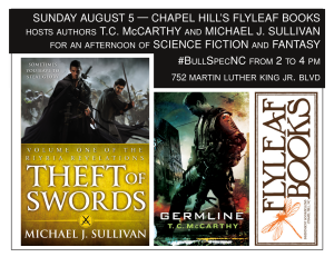Event flyer for Sunday August 5 Flyleaf Books hosts T.C. McCarthy and Michael J. Sullivan