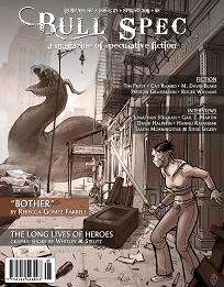 "Bull Spec #5 Cover: ""Dragon in the City"" by Richard Case, based on Rebecca Gomez Farrell's short story ""Bother"". Cover design by Samuel Montgomery-Blinn."